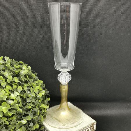 flute glass gold stem